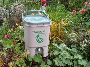 living soil 18 litre kitchen waste digester with handy tap for draining off plant food